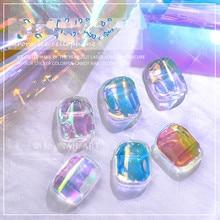 Японский дизайн ногтей Аврора ледяной куб целлофан Большой Цвет цветная переводная бумага лазерные ювелирные изделия Конфеты Бумага diy5 цв...