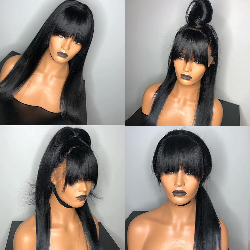 360 Lace Frontal Wig With Bangs Pre Plucked 250 Density 13x6 Lace Front Human Hair Wigs Fake Scalp Wig Straight Remy Ever Beauty