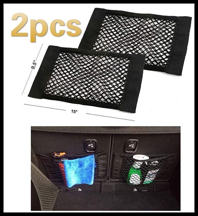 2pcs New Car Trunk Box Storage Bag Mesh Net Bag 50cm*25CM Car Styling Luggage Holder Pocket Sticker Trunk Organizer Car Styling