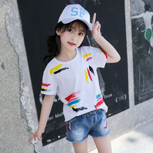 Summer T-shirt for Girls Graffiti White Top Tees Kids Short Sleeve Cotton Shirts Clothes for Girls 5 6 7 8 9 10 12 14 Years Old