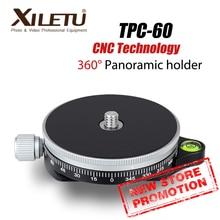 XILETU TPC 60 360 Độ Chân Máy Đầu Toàn Cảnh Kẹp Nhôm Adapter Monopod Nhanh Chóng Phát Hành Đĩa Arca Thụy Sĩ Cho Máy Ảnh DSLR