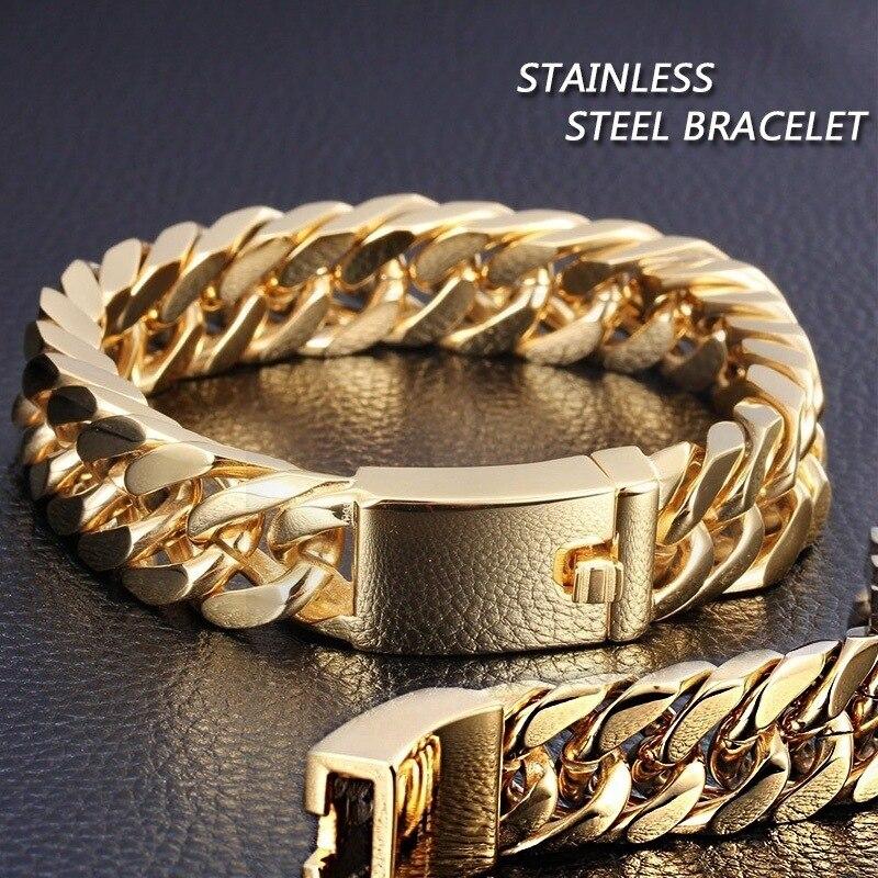 Stainless Steel mens jewellery Simple Gold Steel Cuban Bracelet Retro Men's Hook Bracelet Jewellery Male Hip Hop