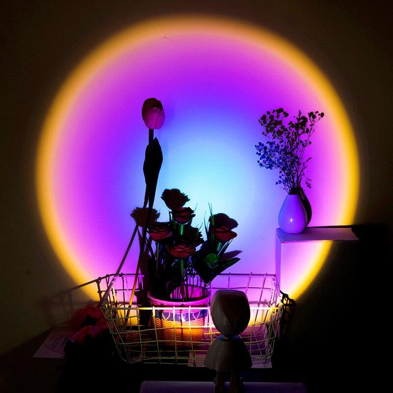 Nieuwe Cartoon Regenboog Projectie Licht Zon Nooit Set Projectie Lamp Usb Oplaadbare Kamer Decoratie Nacht Licht