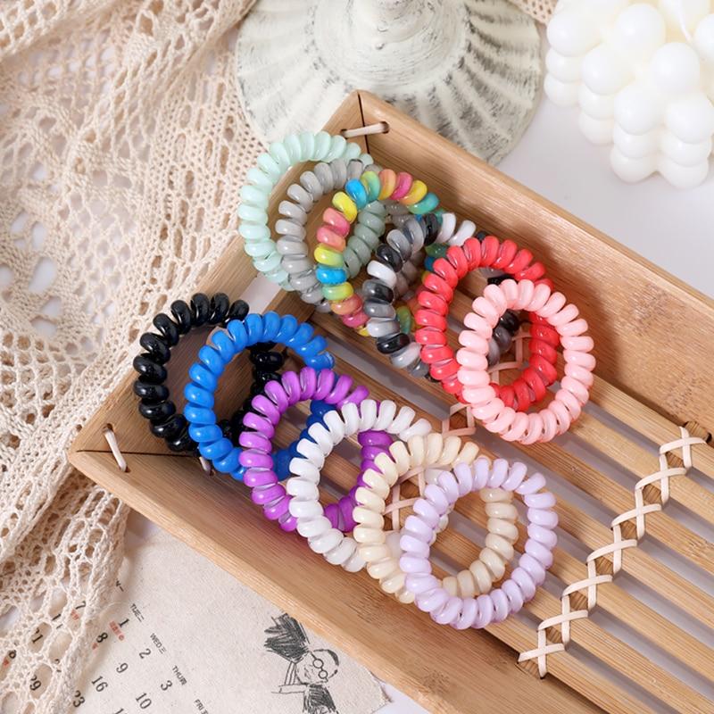 5pcs/Set Women 5.5 Cm Colorful Telephone Line Elastic Hair Bands Ponytail Holder Scrunchie Rubber Bands Fashion Hair Accessories