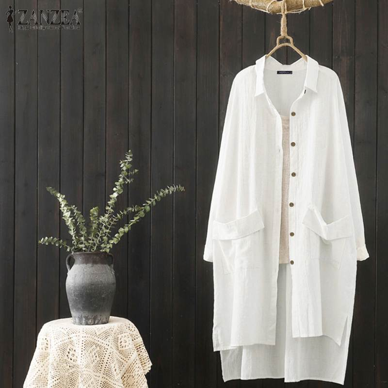 ZANZEA Women White Shirts Lady Lapel Buttons Down Tunic Tops Casual High Low Split Blouses Work Office Chemiser Mujer Plus Size