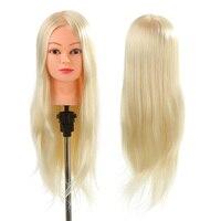 26 30% Real Human Hair Hairdressing Training Head with Clamp Salon Hair Cutting Braiding Practice Model Head Hair Dummy Head