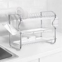 3-х уровневый Нержавеющаясталь сушилка для посуды Кухня полка для коллекции крылом Органайзер сушилка для посуды escurridor de platos