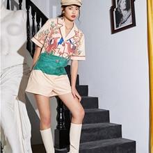 LANMREM turn-down collar half sleeveles boy friend styles short jumpsuit printed