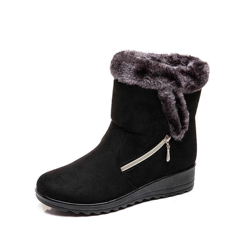 2019 ผู้หญิงฤดูหนาวหิมะรองเท้าหนังนิ่มผู้หญิงข้อเท้าหิมะรองเท้าสุภาพสตรีรองเท้าซิปผู้หญิง Botas Mujer Casual Booties 35 -43 B1364