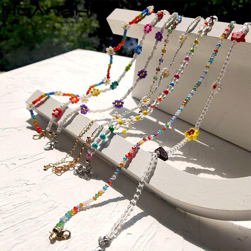 HUANZHI 2020 новый корейский прекрасный цветок маргаритки бабочка кулон Радужный Цвет бусы ожерелье для женщин девушек ювелирные изделия для от...