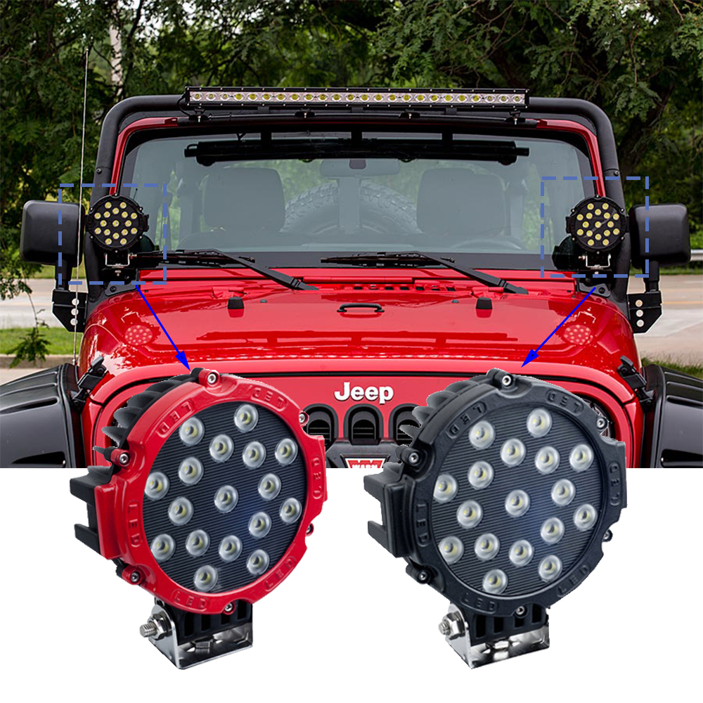 ECAHAYAKU 2Pcs 7Inch 51W Car LED Work Light Bar 12V Round High-Power 17x3W Spot For 4x4 Offroad Truck Tractor ATV SUV Jeep Drive