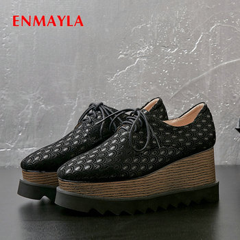 ENMAYLA 2020 Fashion Round Toe Kid Suede Womens Shoes  Lace-Up High Heels Wedges  Basic Casual Pumps Women Shoes  Luxury 34-42