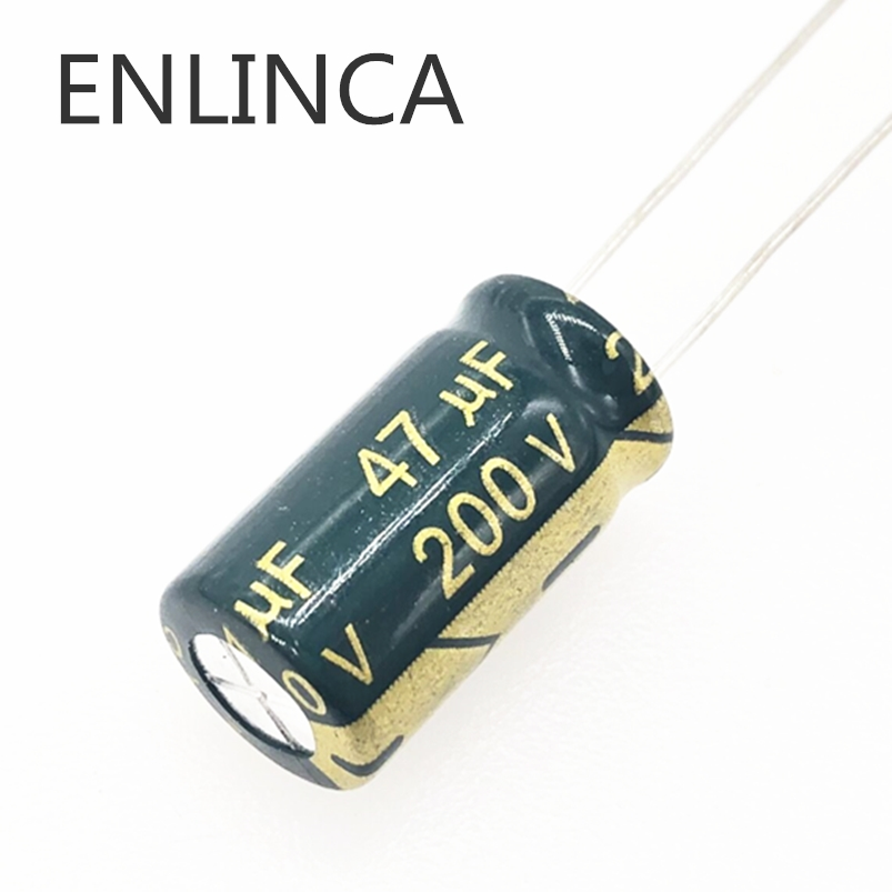 5pcs/lot 47UF 200v 47UF Aluminum Electrolytic Capacitor Size 10*20 H034 20%