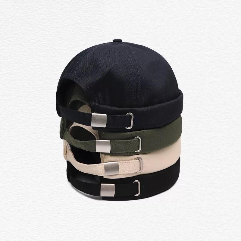 Unisex Docker Sailor Biker Cap Streetwear Pumpkin Vintage Navy Brimless Beanies Hat Melon Sailor Casual Short Harajuku Cap