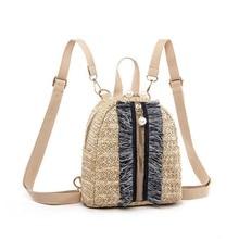 10PCS / LOT New Straw Woven Backpack Women Back Pack Summer Teenage Girls Backpacks Travel Bags Books Rucksack bolsa feminina