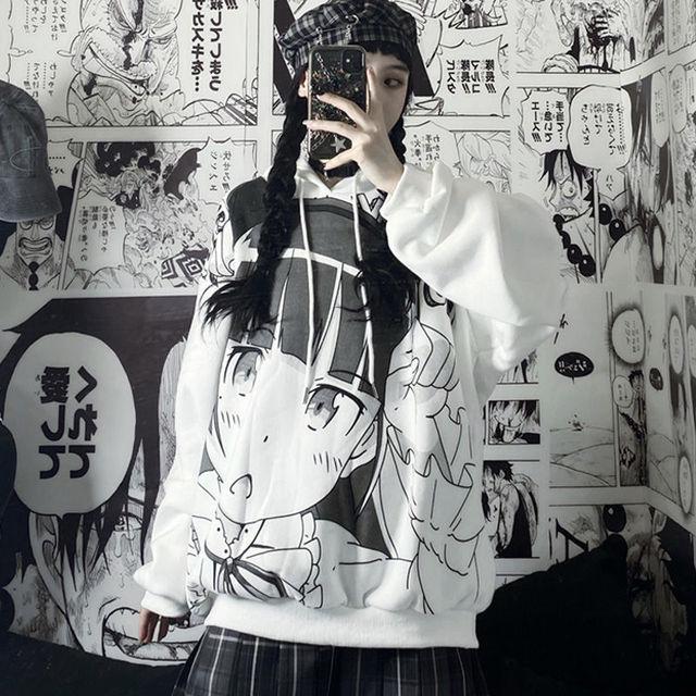 Japanese Anime Hoodie Autumn Clothes Women Sweatshirt Fashion Print Long Sleeve Tops Loose Warm Velvet Plus Size Women Pullover 5