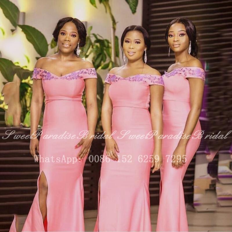 2020 Pink Mermaid Long Bridesmaid Dresses With Appliques Side Split Off Shoulder Women Wedding Party Dress Vestidos