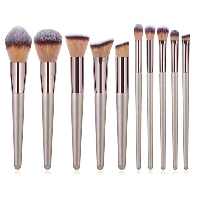 10pcs Champagne Makeup Brushes Set Foundation Powder Blush Eyeshadow Concealer Lip Eye Make Up Brush Cosmetics For Make Up Tools