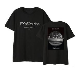 Kpop exo planet 5 exploration concert same earth printing t shirt summer style unisex black/white o neck short sleeve t-shirt(China)
