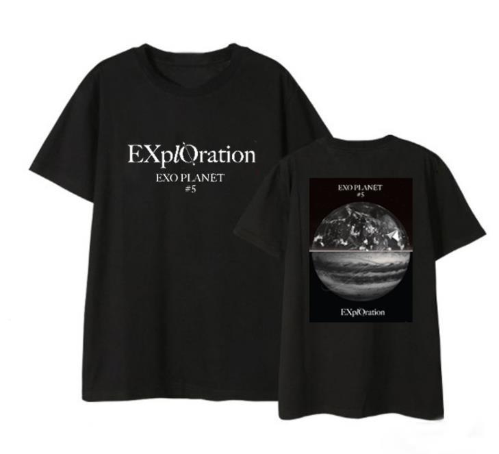Kpop exo planeta 5 exploração concerto mesma terra impressão camiseta verão estilo unisex preto/branco o pescoço curto t-shirt de manga comprida