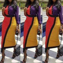 2019 Fashion Color Block Striped Bodycon Shirt Dress Female Vintage Yellow Purple Lapel Women Tight Office Midi Dress High Waist casual striped color block dress