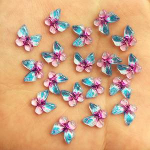 40pcs Bling Resin 10mm Colorful Butterflies Flatback Rhinestone Ornaments DIY Wedding Greeting Card Buttons W734