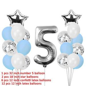 Image 3 - Lincaier I Am Five, крафт бумажный баннер, 5 лет, день рождения для мальчиков и девочек, 5 воздушных шаров, вечерние украшения, пятая бандана, гирлянда розового и синего цвета