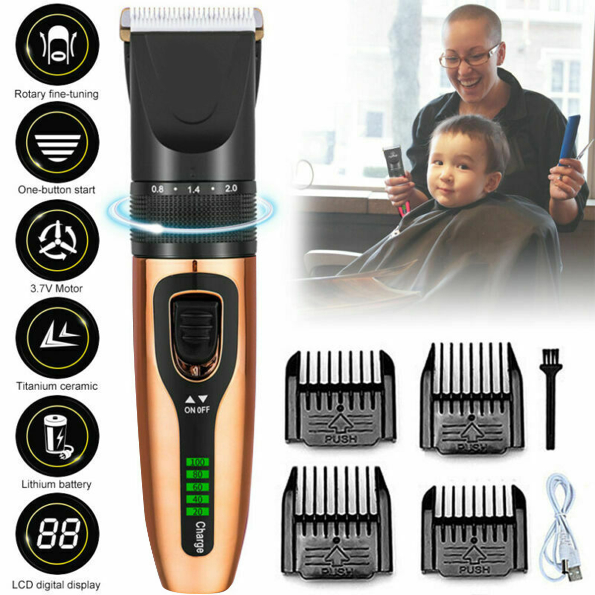 Electric Baby Hair Trimmer Hair Clipper Baby Hair Care Cutting Remover Rechargeable Kids Infant Women Hair Shaver