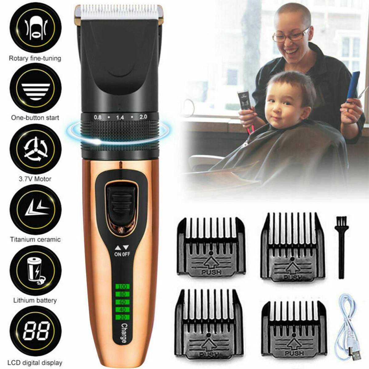 Professional Digital Hair Trimmer Rechargeable Electric Hair Clipper Men's Kids Cordless Haircut Titanium Ceramic Blade