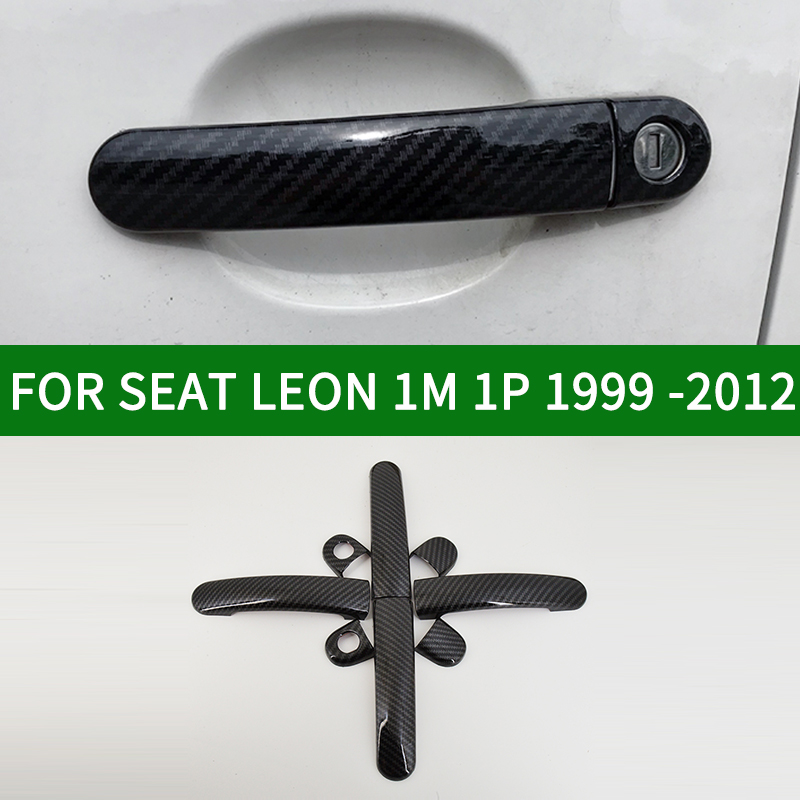 FOR SEAT LEON 1M 1P 1999-2012 Accessory glossy carbon fibre pattern door handle covers trim TDI SDI CUPRA FR
