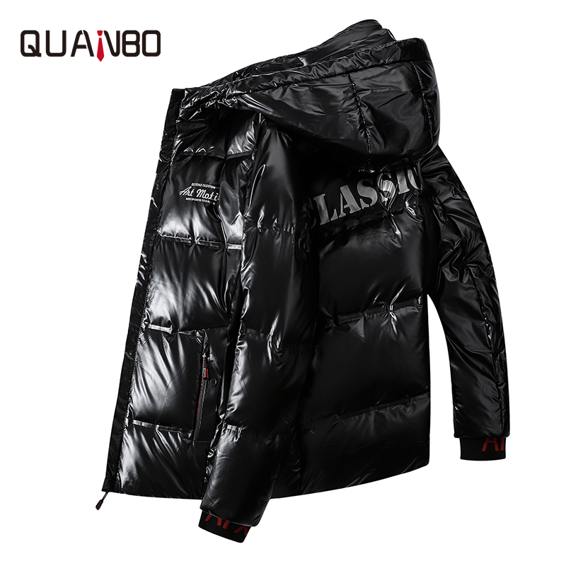QUANBO 2019 New Arrival Winter Hooded Men's Short   Down   Jacket Fashion Youth Men Casual Warm   Down     Coat   Black Gray Parkas 4XL