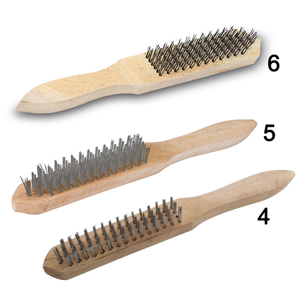 Wire Brush Steel Bristle Cleaner Cleaning Rust Paint Removal Wooden Handle