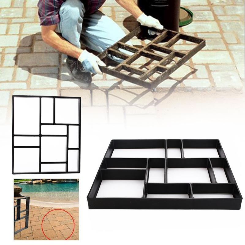 Plastic Black Path Maker Mold Concrete  Molds Riginality Garden DIY Courtyard Practic Beautiful Decorate Slate Cement Road