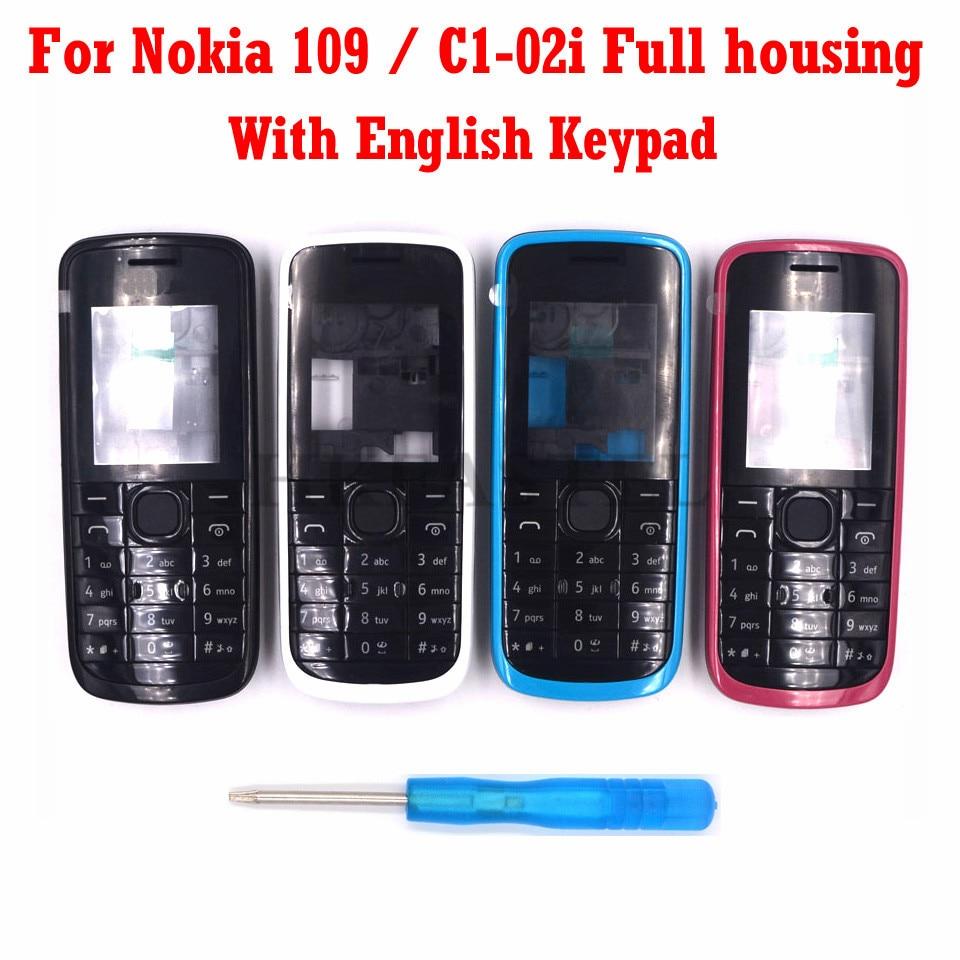 For Nokia 109 C1-02i New Mobile Phone Housing Cover Case + Engilish Keypad + Tool