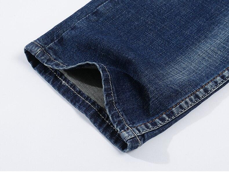 KSTUN Men's Jeans Classic Direct Stretch Dark Blue Business Casual Denim Pants Slim Straight Long Trousers Gentleman Cowboys 38 18