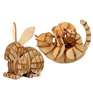 Juguetes DIY de corte láser con diseño de animales, gatos, perros, Panda, rompecabezas 3D de madera, juego de madera para montar, Kits de artesanía, decoración de escritorio para niños