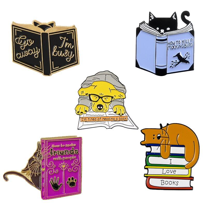 3~6pcs/set Mixed theme Enamel Pin Cat Dog Book Read Ocean Wave Heart Brain Mermaid Custom Brooch Lapel Pin Badge Cartoon Jewelry 6