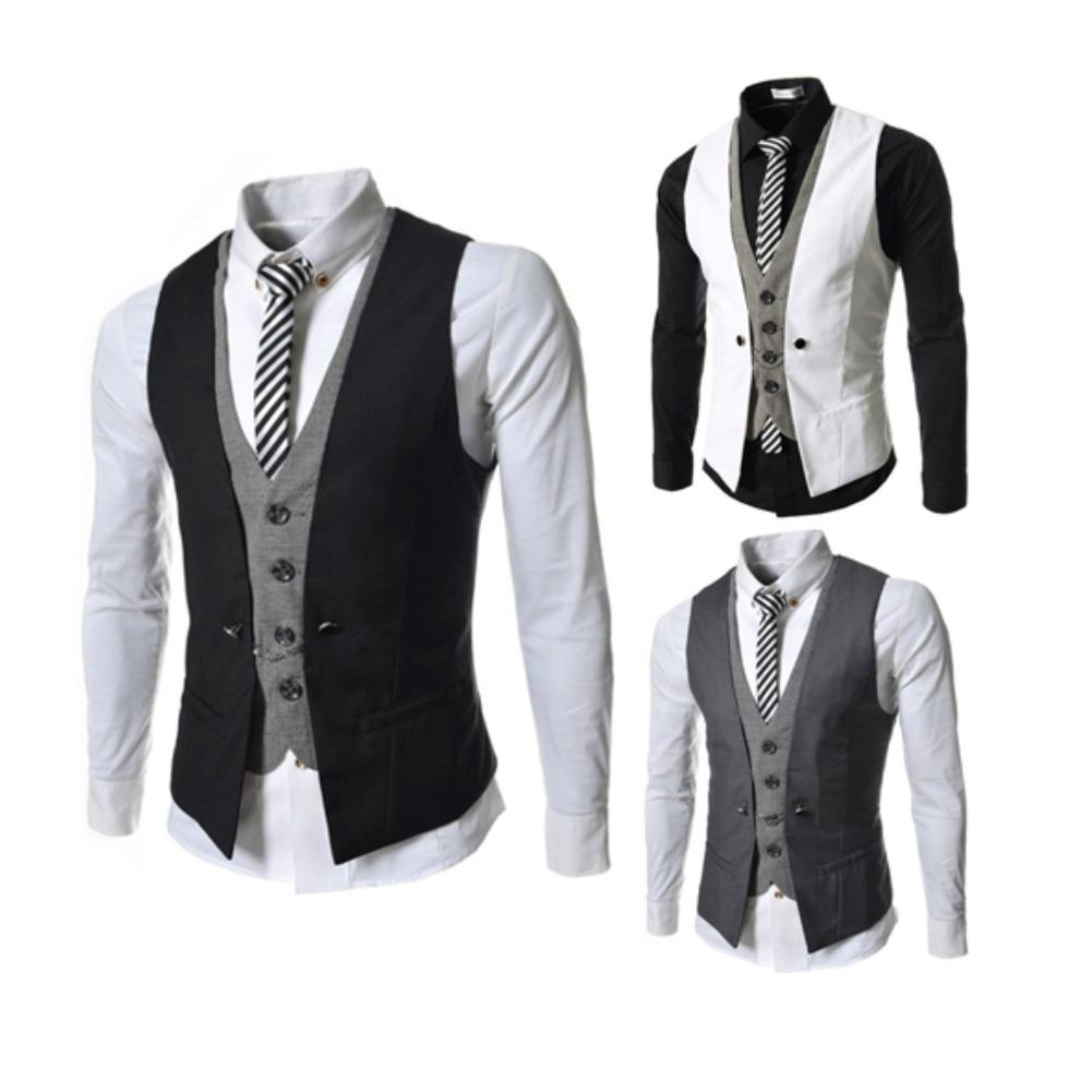 Men Sleeveless V Neck Single-breasted Slim Gilet Business Suit Top Waistcoat