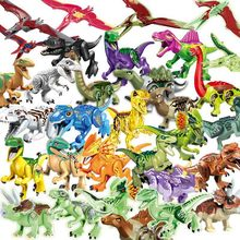 New Jurassic World Dinosaur Indominus Rex T-Tex Dilophosaurus Velociraptor Building Block Toys for Children