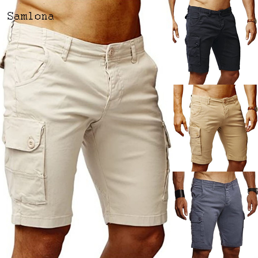 Hot 2020 Newest Summer Casual Shorts Men Fashion Safari Style Loose Men Shorts Three Dimensional Pockets Knee Length Shorts Male