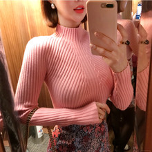 8 colors 2019 Autumn Women lady sweater high elastic Solid Turtleneck s
