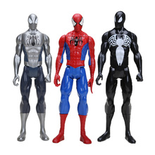 12 30CM Black Suit Spiderman Spider-man Action Figure Spider man Toy Collectible Model Toy 4pcs lot super climber stikbot action figure toy cartoon spider man stik bot funny play collection jouet children birthday gift