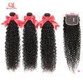 Кудрявые Волнистые Волосы Queenlife 8-36 дюймов, 3 пряди с застежкой, кружевная застежка 4x4, 100% бразильские человеческие волосы без повреждений