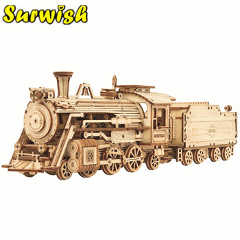 1pcs 3d Wooden Puzzles Toys For Children Steam Train Express DIY Assembly Handmade 3D Puzzle Car Model