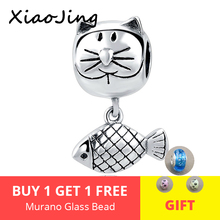 925 Sterling Silver Curious Cat and Fish Animal Charm Fit original pandora charm bracelet beads Jewelry making for women gifts