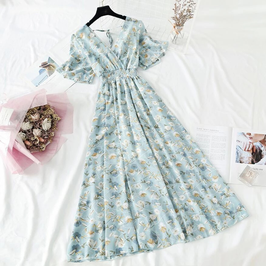 Summer Women Ruffled Short-sleeved Chiffon Dress V-neck High Waist Backless Sexy Floral Print Beach Dresses