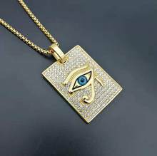 Men Hip hop iced out The eyes of horus pendant necklaces Stainless steel with rhinestone male Hiphop necklace jewelry gifts(China)
