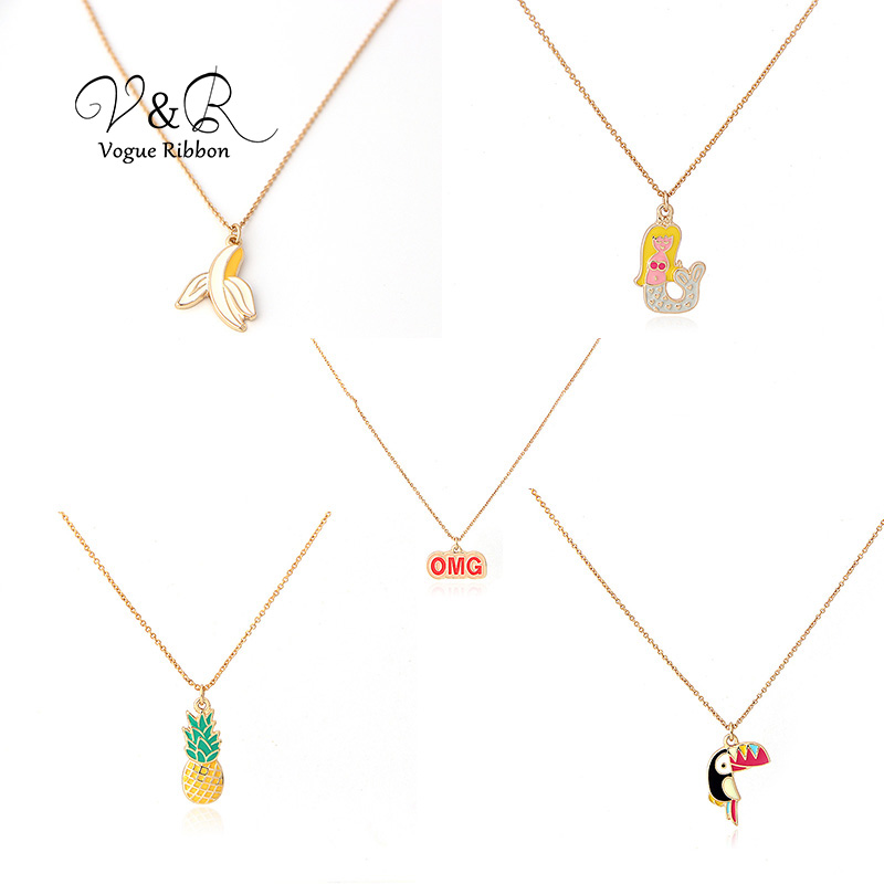 Imitation gold plated pendant necklace, cute epoxy banana pendant, fashion jewelry for girl  (0)