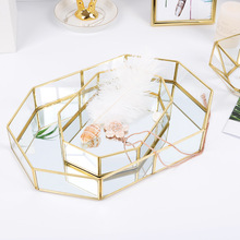 Nordic Retro Storage Tray Gold Rectangle Glass Makeup Organizer Tray Dessert Plate Jewelry Display Home Kitchen Decor Ins box