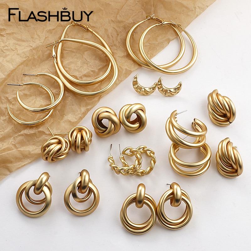 Flashbuy Trendy Gold Metal Drop Earrings For Women Vintage Twist Geometric Statement Earring Fashion Jewelry Pendientes Hot Sale